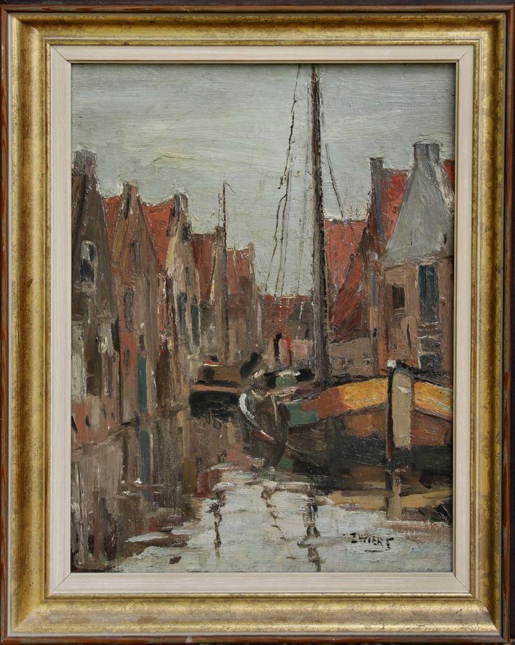 Methusalem Veiling - Piet Zwiers  Piet Zwiers  Piet Zwiers (1907-1965) olie/doek 'Gracht met aangemeerde boten in Meppel ' afm. 40 x 30 cm.