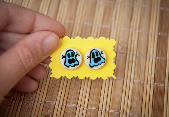 Ghost stud earrings  handmade  great for by SilviaWithLove on Etsy, €6.00