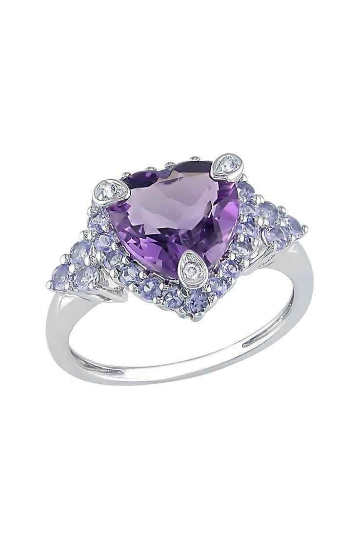 Diamond Amethyst Accented Tanzanite Heart Ring ♡