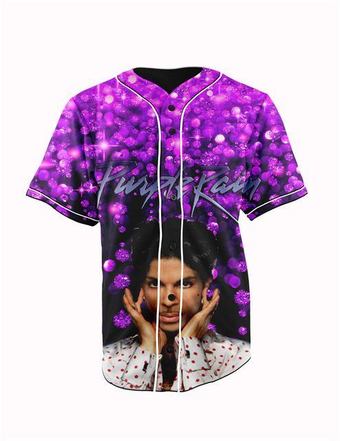 EE. UU. Tamaño Real príncipe púrpura lluvia 3D Impresión de la Sublimación Por Encargo Botón arriba jersey de béisbol más tamaño