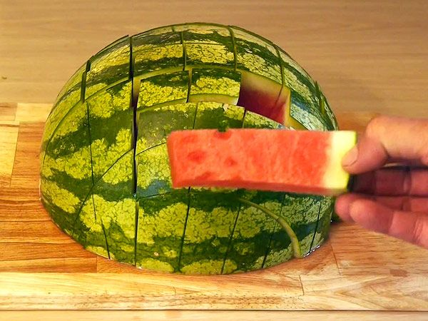 You've Been Cutting Watermelon All Wrong. Instead of slicing the melon into wide wedges that inevitably get juice all over your face and chin, cut the fruit (or any other melon) in half, then slice it in a grid. That will give you evenly sized slices that each have a bit of rind at the bottom to act as a convenient handle. The only tricky part is not eating a slice or two before guests arrive. Check out the video.