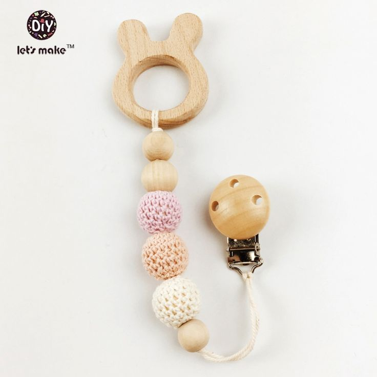150pc Block Wood & wooden Beads Diy Pacifier Clip 10 style natural wood organic baby teether beads