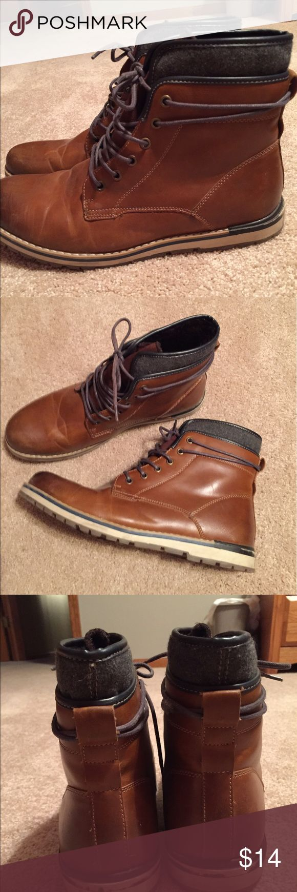 Men's brown boot/shoes Men's brown boot shoes with laces. Gently worn but in great condition. All scuffs are shown in photos. Worn under 5 times. Kohl's Shoes Boots
