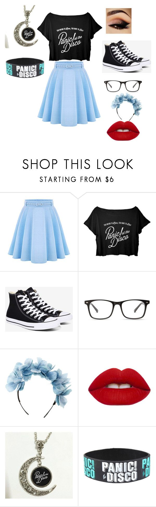 """Girl's Panic! At the Disco Outfit"" by issy-random on Polyvore featuring WithChic, Converse, Cult Gaia and Lime Crime"