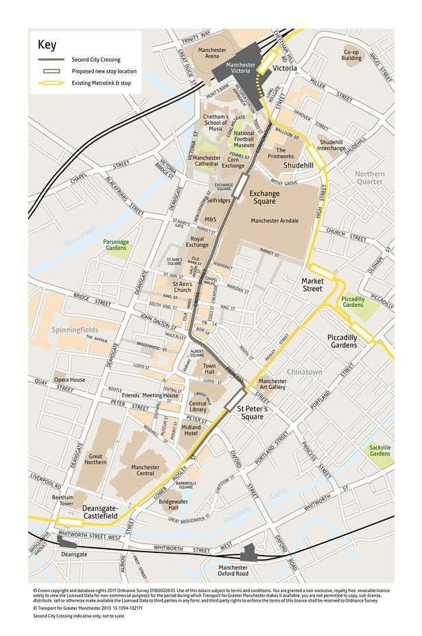 Map of proposed second Metrolink tram route through Manchester city centre