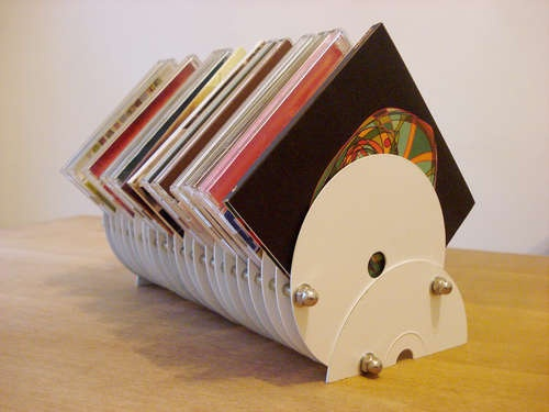 CD stand made from old discarded CDs