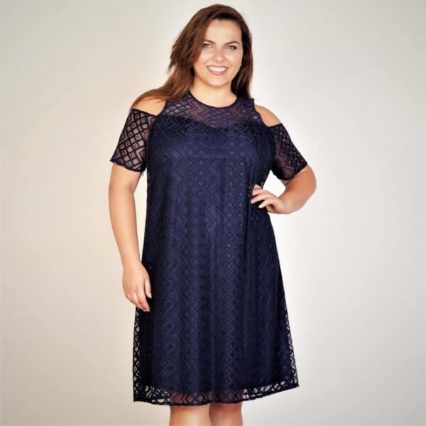 Aztec Patterned Lace Dress Show off a little skin this season, beautifully cut from an Aztec patterned lace and layered with a stretch jersey, the cut out shoulder dress is detailed with a back neck button fastening, the relaxed fit and the lined dress is a perfect day to evening wear. Plus size dresses - buy online from Dublin