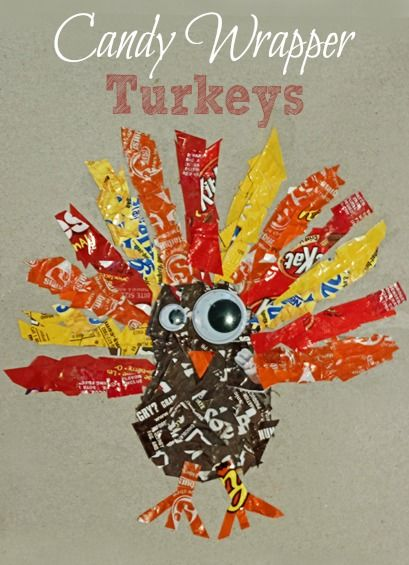 Candy Wrapper Turkey ~ Simple Thanksgiving craft: Turkey Crafts, Thanksgiving Turkey, Thanksgiving Crafts, Halloween Candy, Kids Crafts, Wrappers Turkey, Candy Wrappers, Simple Thanksgiving, Holidays Thanksgiving
