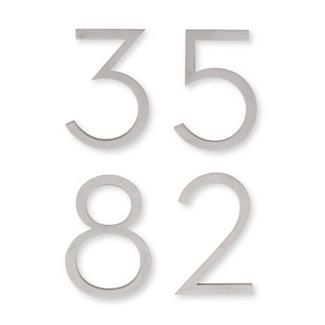 Neutra Number - Aluminum  DWR Design Studio worked with Dion Neutra to produce these numbers true to the 1930s originals, in exacting detail. His father and business partner, architect Richard Neutra, specified these numbers for use on the mid-century buildings he designed.