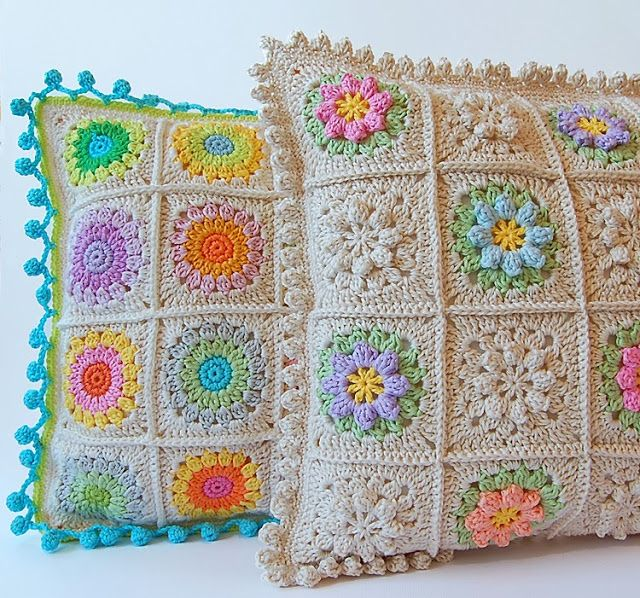 Pillow to crochet Lugar de Dada, love the colors
