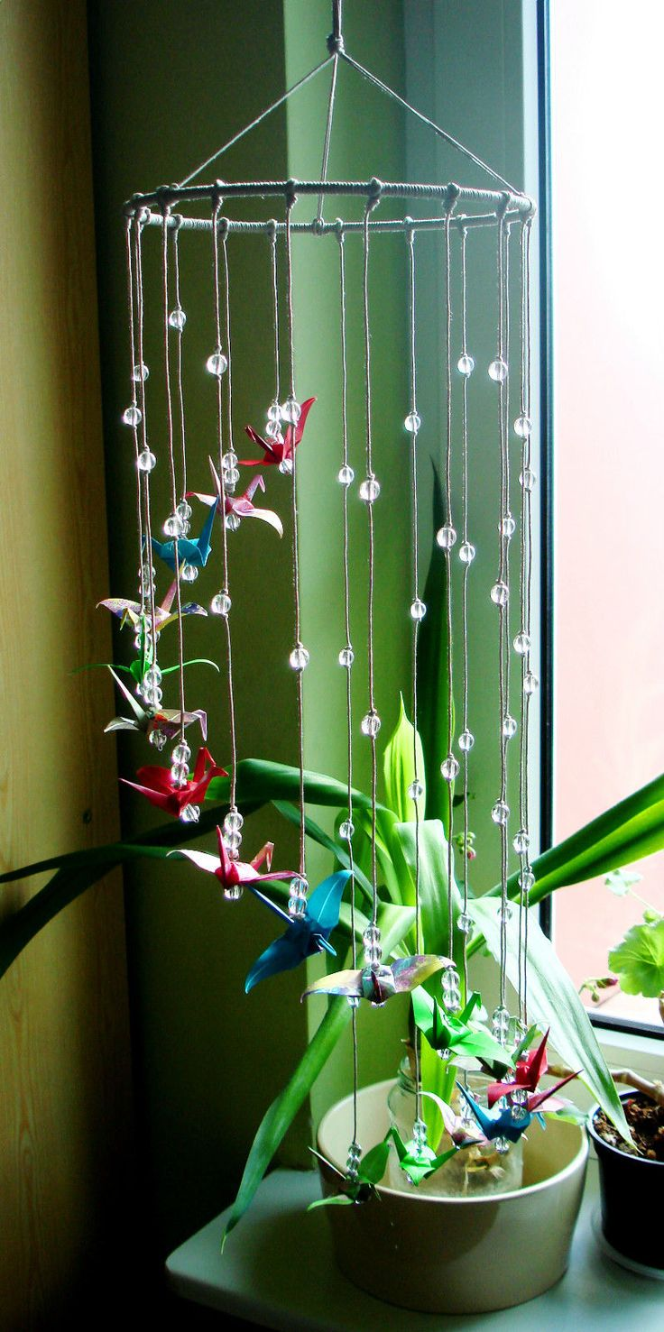 "Handmade Mobile with Origami Cranes ""Colourful Streamer"" Great Present 