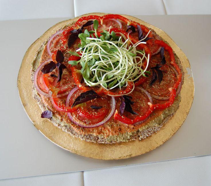Raw Vegan Recipe: Gluten-free Raw Vegan Pizza with Nut-Free Buckwheat and Flax Seed Crust and Walnut Basil Pesto