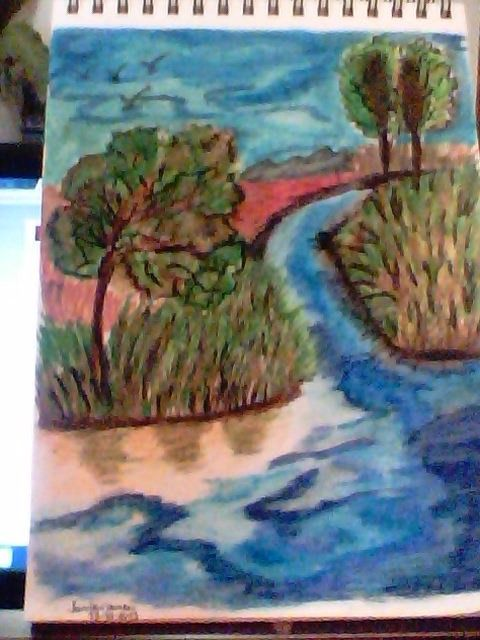 My first oil pastel .... i don't know how to work with oil pastels....but .... i enjoyed. ST.