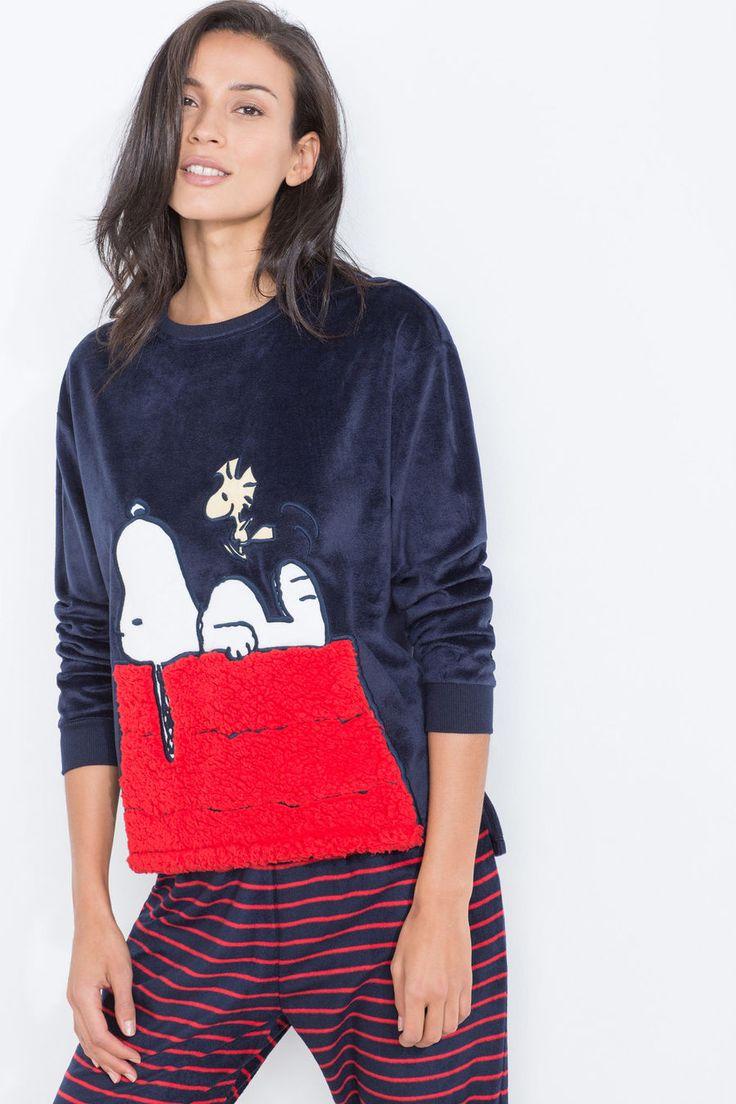 Womensecret Pijama polar de rayas de Snoopy azul