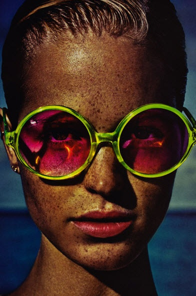 Lime sunglasses with hot pink tint!