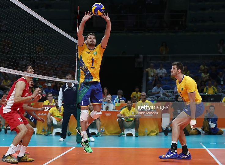 Bruno Rezende of Brazil in action during the men's qualifying volleyball match between Brazil and Mexico on August 7, 2016 in Rio de Janeiro, Brazil.