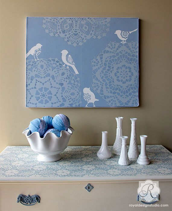 Wall Art Lace Bird Stencil Set - Royal Design Studio Stencils
