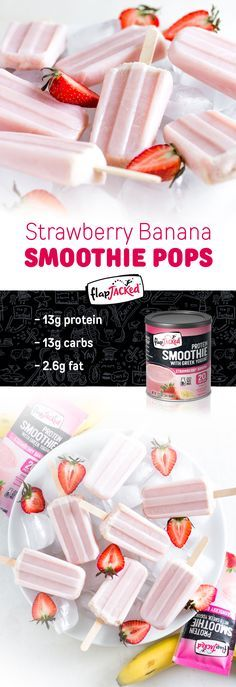 Looking to cool down with a refreshing treat? These Strawberry Banana Smoothie Pops will do just the trick! Not only are they easy to make, but each serving also provides 13g of protein, along with a healthy dose of flax, probiotics and omega-3s. For this recipe we used the Strawberry Banana Protein Smoothie Mix, but you can make them with any of our smoothie flavors. Make it your own by adding in some fun mix-ins, fruit works great!