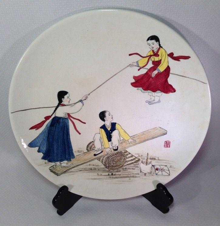 Korea Ironstone China Co Hand Painted Charger Plate Couple Peacock Seesaw Korean #KoreaIronstoneChinaCo