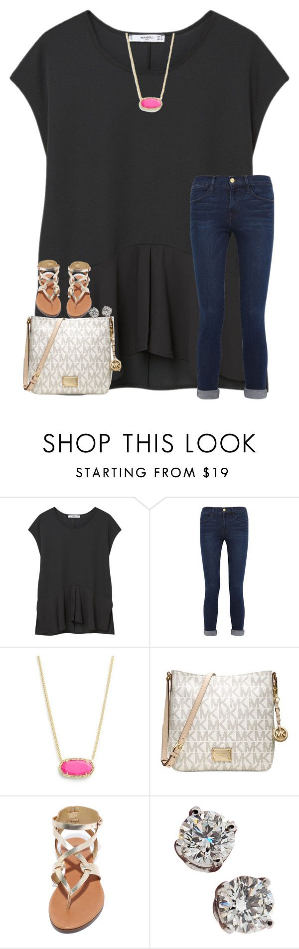 """When do you go back to school?"" by sweettoothegj ❤ liked on Polyvore featuring MANGO, Frame Denim, Kendra Scott, Michael Kors, Breckelle's and Tiffany & Co."