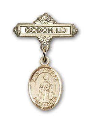 ReligiousObsession's 14K Gold Baby Badge with St. Angela Merici Charm and Godchild Badge Pin * Click on the image for additional details.