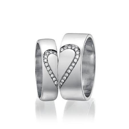 Men And Women Heart Wedding Bands 014 Carat Diamonds Unique Matching