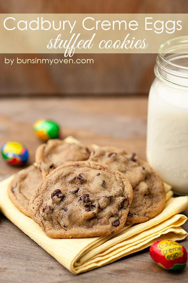 Cadbury Creme Egg Stuffed Chocolate Chip Cookies - fun and EASY! from bunsinmyoven.com
