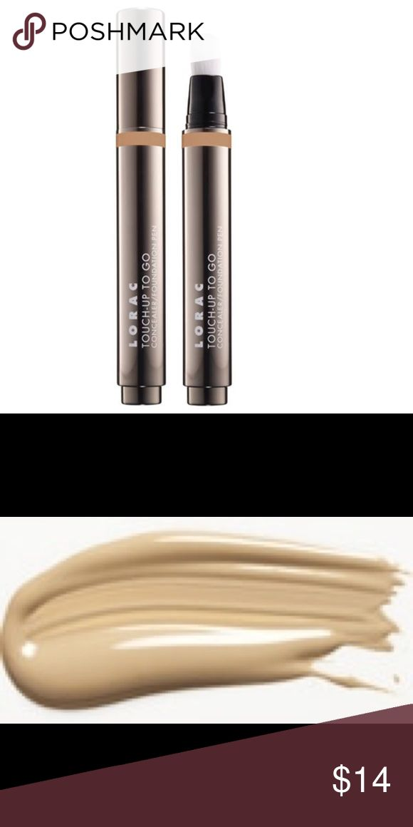 TOUCH-UP TO GO CONCEALER PEN New in box BEIGE TOUCH-UP TO GO CONCEALER PEN New in box Color: Beige  Get an instant pick-me-up with LORAC's Touch-Up To Go Concealer/ Foundation Pen. This travel-friendly, versatile 2-in-1 formula conceals and covers imperfections with a built-in brush applicator for a long-wearing, natural finish. This oil, paraben and fragrance free formula is infused with Vitamins A and E, Acai Berry, White and Green Tea Touch-Up To Go provides medium coverage that is…