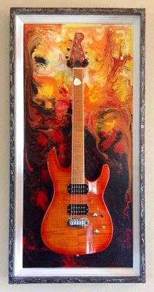 "Guitar Display Case, ""Lake of Fire""  Shadow Box"