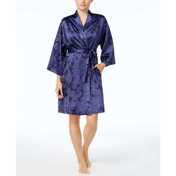 Lauren Ralph Lauren Paisley Satin Kimono Robe ($51) ❤ liked on Polyvore featuring intimates, robes, blue paisley, dressing gown, satin robe, kimono bath robe, satin kimono and satin kimono robe