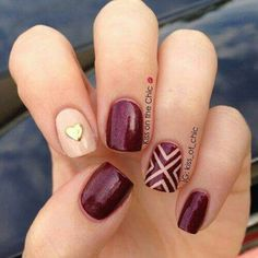 Resultado de imagen para burgundy and beige nails
