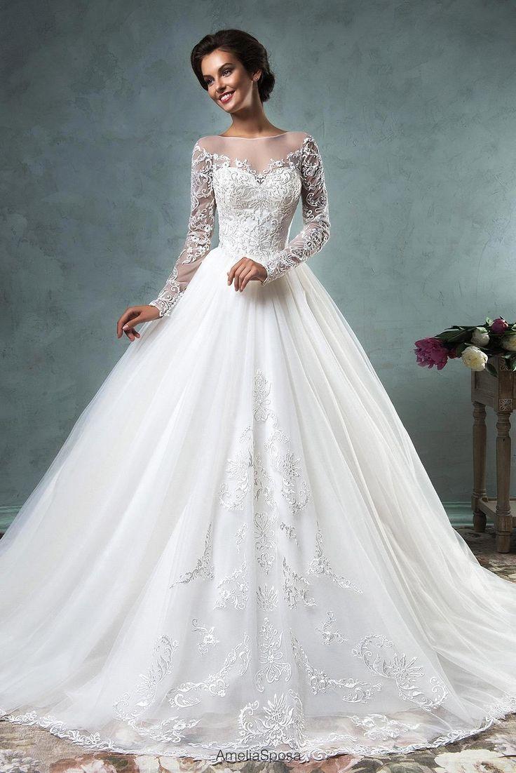 Vestido de noiva 2016 lace applique vestido de casamento romântico Sheer voltar…