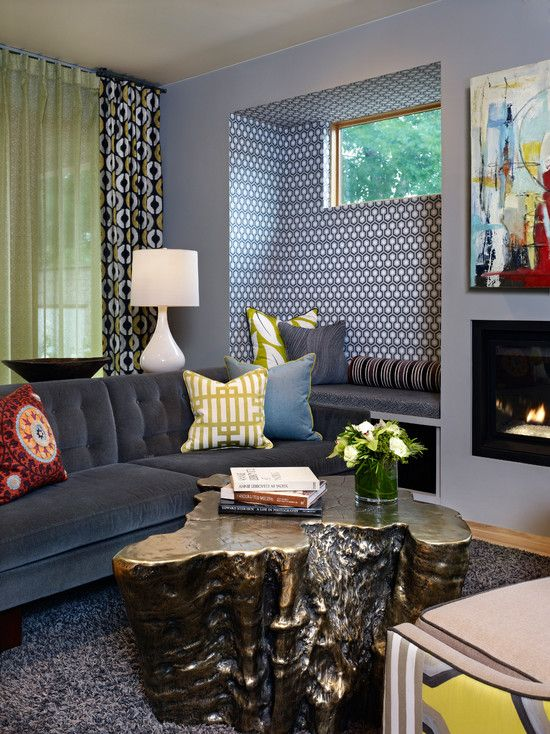 #Eclectic living room #design with live edge coffee table, #groovy lamps and #window panels, and beautifully wallpapered #nook in a #geometric pattern. Cole & Son Hicks Hexagon Wallpaper.