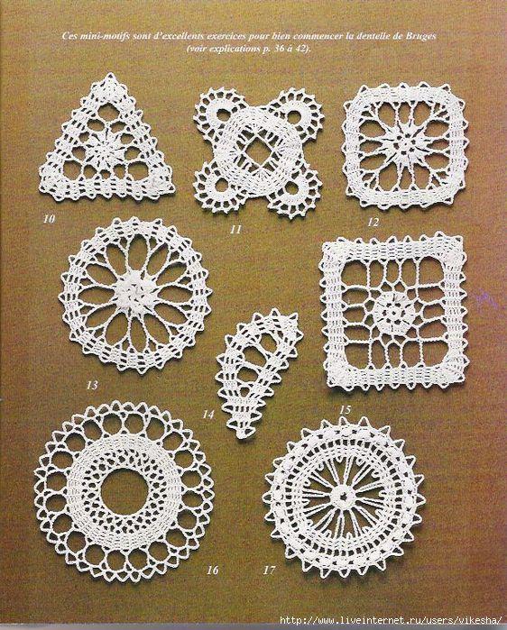 Baie goeie web vir die kantwerk - tegnieke.Bruges Lace Designs free crochet graph patterns