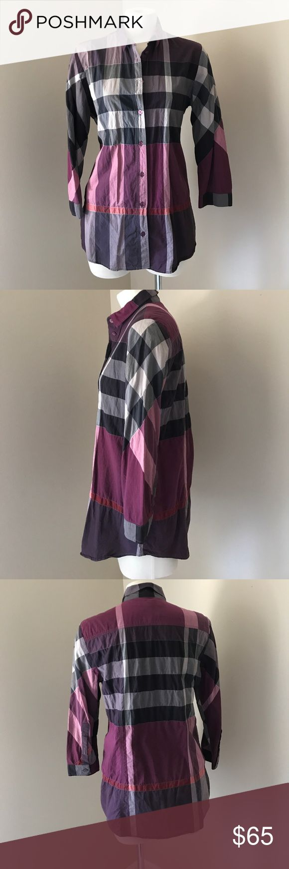 Burberry Plaid Button Down S Purple Burberry Plaid Button Down Blouse 3/4 sleeve Small Burberry Tops Button Down Shirts