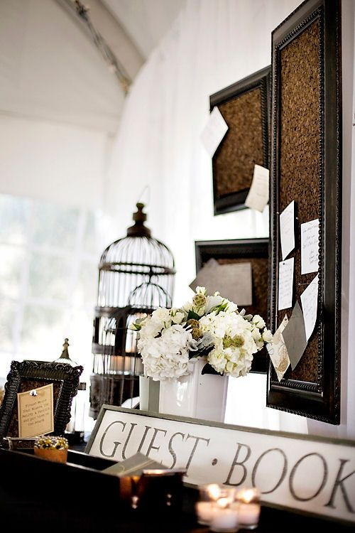 Cork board guest book display