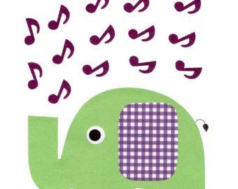 1634 groen paars muziek Opmerking olifant muzikale kwekerij