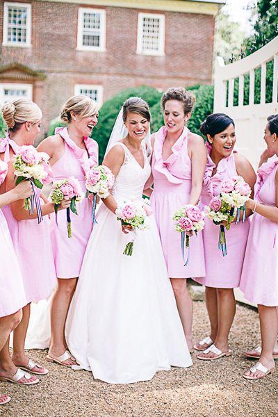 LulaKate Pink Seersucker Zoe bridesmaid dresses.   Photography: Nikki Santerre