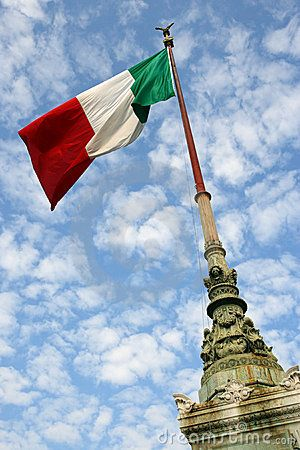 The flag of Italy blowing in the wind.
