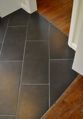nice metal transition piece between hardwoods + tile. You can mix the wooden floor into tiles.