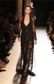 Nieuwe 2015 elie saab jurk avondjurk lange mouwen zwart kant vloer lengte kralen lange prom toga jurk