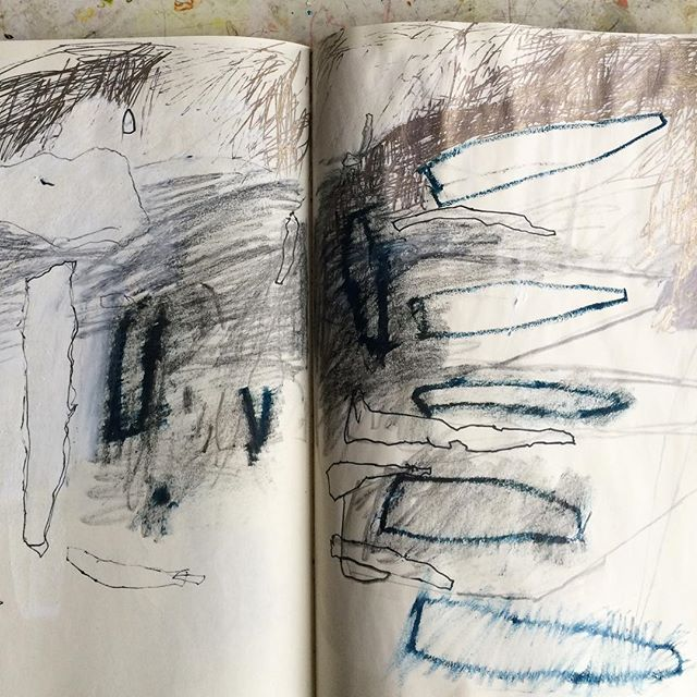 """Sketchbook marks """"I approach my sketchbooks without any thought of product. Something about making yourself do it everyday, even if it is only a line or two, is very helpful."""" Lari Washburn is a ceramicist"""