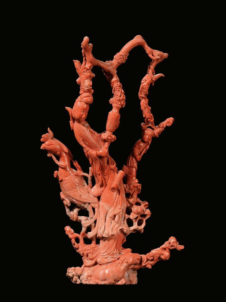 Grande gruppo in corallo raffigurante Guanyin, fanciulli e animali fantastici, Cina,  Dinastia Qing,  ...