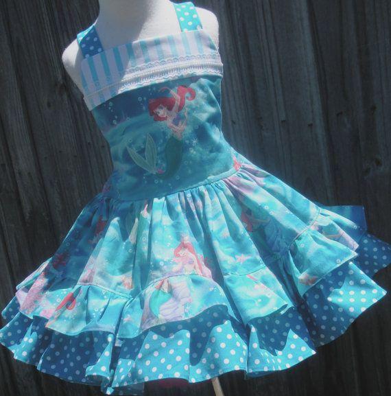 Custom Boutique Disney Little Mermaid Ariel Dress Girl 2 3 4 5 6 7 8 on Etsy, $55.00