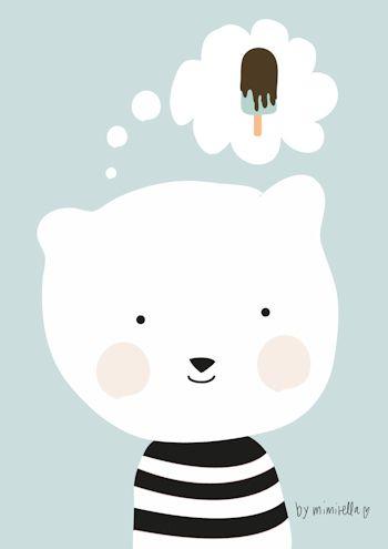 Geweldige A3 poster Ijsbeer loves ice cream - Mimirella