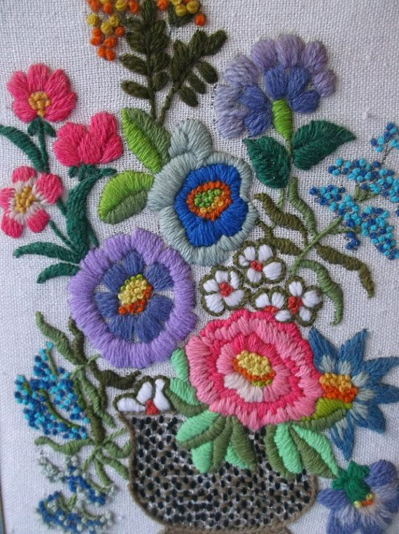 flowers with hand embroidery