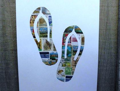 Jandals Stamp Art
