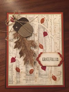 "Blue Dahlia Designs: Coloring Down the Lines - Fall Has Arrived! The background is stamped directly on to the embossing folder using smoky slate, and the trees are slightly sponged using crumb cake. I used ""Vintage Leaves"" stamp set, along with Acorny Thank You for the leaf and and acorn. I also used ""Lots of Labels"" framelits for the sentiment for a little added touch to the card."