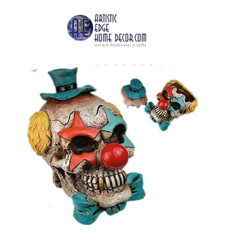Clown Skull Ash Tray: Scary Evil Clown....so creepy and so evil....a must have.  Unfortunately this item has been discontinued.  Anyone that has it, lucky you!!!! And we have no more. We keep the picture to remember just how cool it really was.