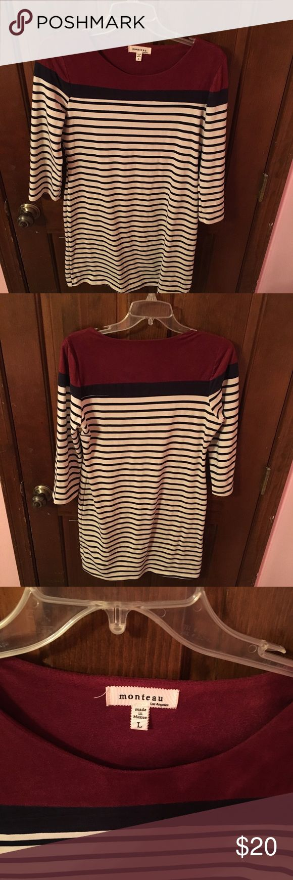 Red & Navy Striped Dress Worn twice and in perfect condition! No stains, tears or rips! Too big for me now! :) Monteau Dresses